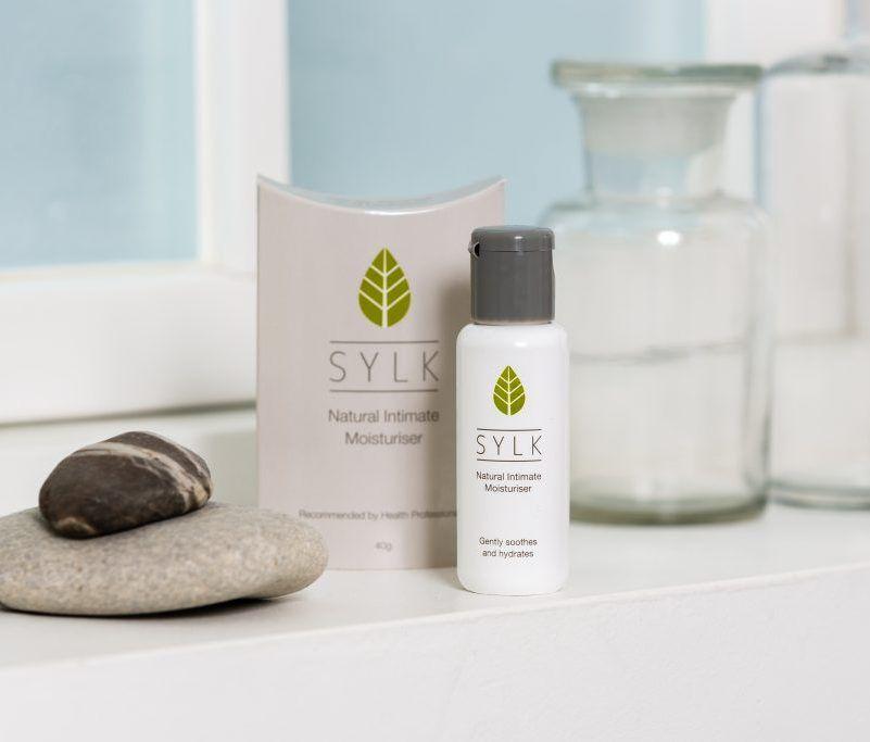 Sylk package on bathroom window sill