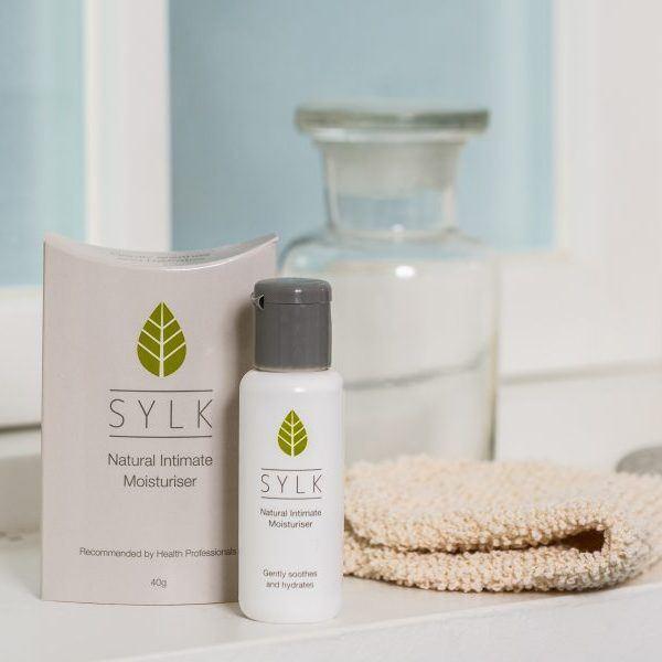 Sylk lubricant discreet packaging in the bathroom