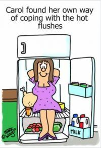 Menopause Hot Flush - sit in the fridge cartoon